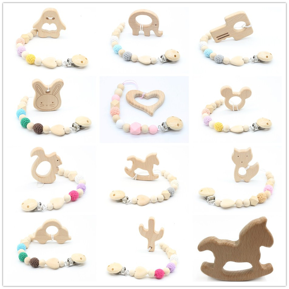 Dummy Clip Beech Animal Cartoon Pendant Pacifier Holder Newbaby Baby Dummy Clips Wooden Teether Pacifier Clip Teething Toy