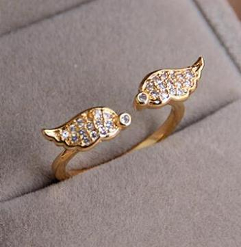 New angel wing RGP Fashion plated gold color plated zircon crystal rings For Women wholesale B9D25211 ABC