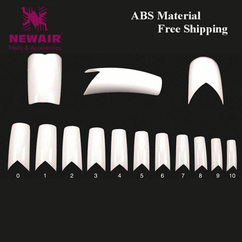 ⊱500pcs Long False Nails V Shapes French Nail Tips White ABS Fake ...