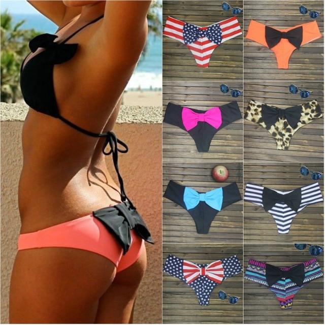 715b2cb105cec Big Bow Triangle Swimsuit Sexy Brazilian Thong Bikini Big Bottom Print  Bikini Swimwear Bow bottom flag swimming suit for Women