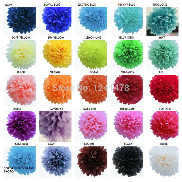 24 Colors As Chart Handmade Paper Flowers Balls Garlands Wedding