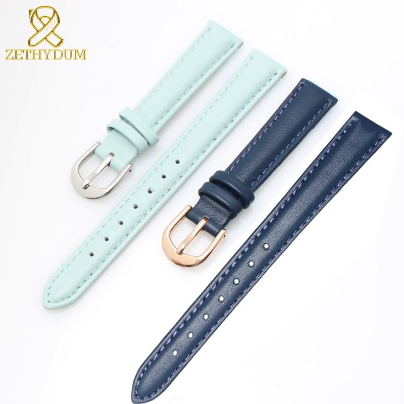 Genuine leather bracelet womens watchband plain wristwatches band blue pink gray color watch strap 14 16 18 20 mm soft band цена в Москве и Питере