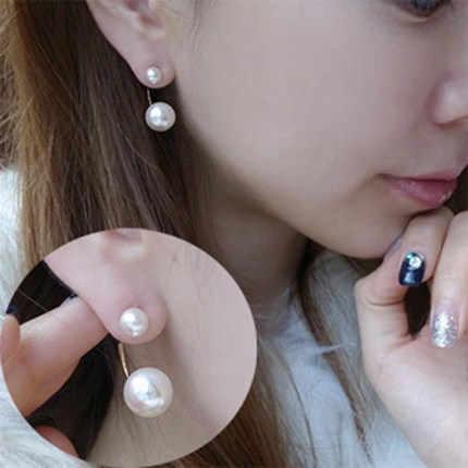 Pendientes de perlas 2017 naturales joyería de perlas para mujer pendientes de perlas de doble cara de oro joyería de boda al por mayor