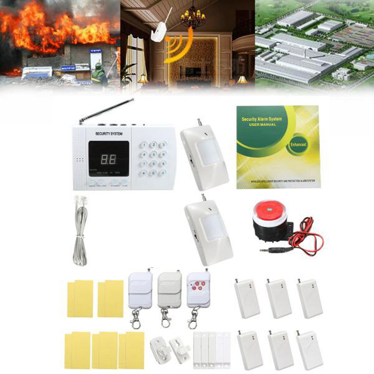500ft Home Security Burglar Alarm System Auto Dialing Dialer Zones Wireless PIR Prevent Theft Detect Gas Leakage Wall Mount zones wireless pir home security burglar alarm system auto dialer with wireless door sensors detector new high quality