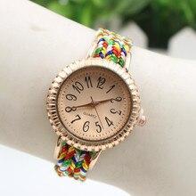 Moda Casual Mulheres Relógio de Quartzo relógios de Pulso Relogio feminino Ceative Cinta Tecer Pulseira Relógio das Mulheres Relógios do Presente do Amor