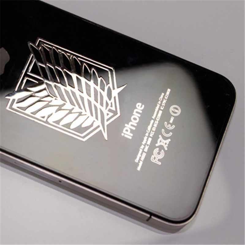 SIANCS 1 Uds pegatina de animé ataque a Titán para Xiaomi Huawei iPhone XS DIY decoración teléfono móvil Laptop coche pegatinas de Metal