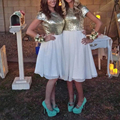 Shinning Short Gold White Bridesmaid Dresses With Sleeves Chiffon Sequin Bridesmaid Dress Empire Sparkly Bridesmaid Gowns B61
