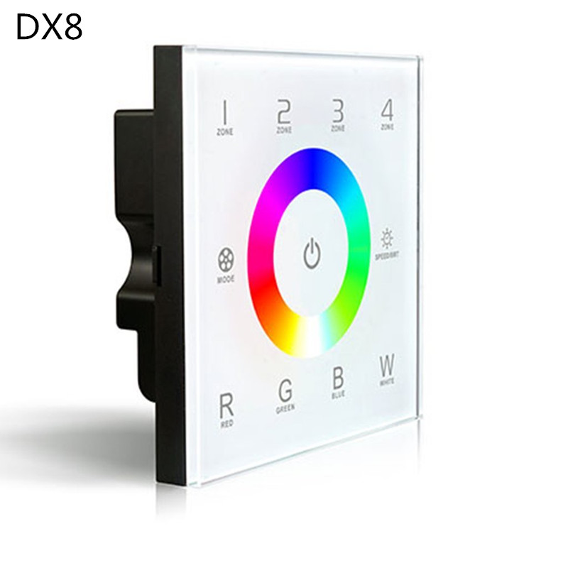DX8 rgbw touch panel led controller 4 Zones control RF 2.4G+DMX512 master RGBW wall mounted,for rgbw strip led panel  led dx8 d5 touch led controller led dimmer dmx512 4 zones control dc12 24v dimming touch panel led controller 5 year warranty