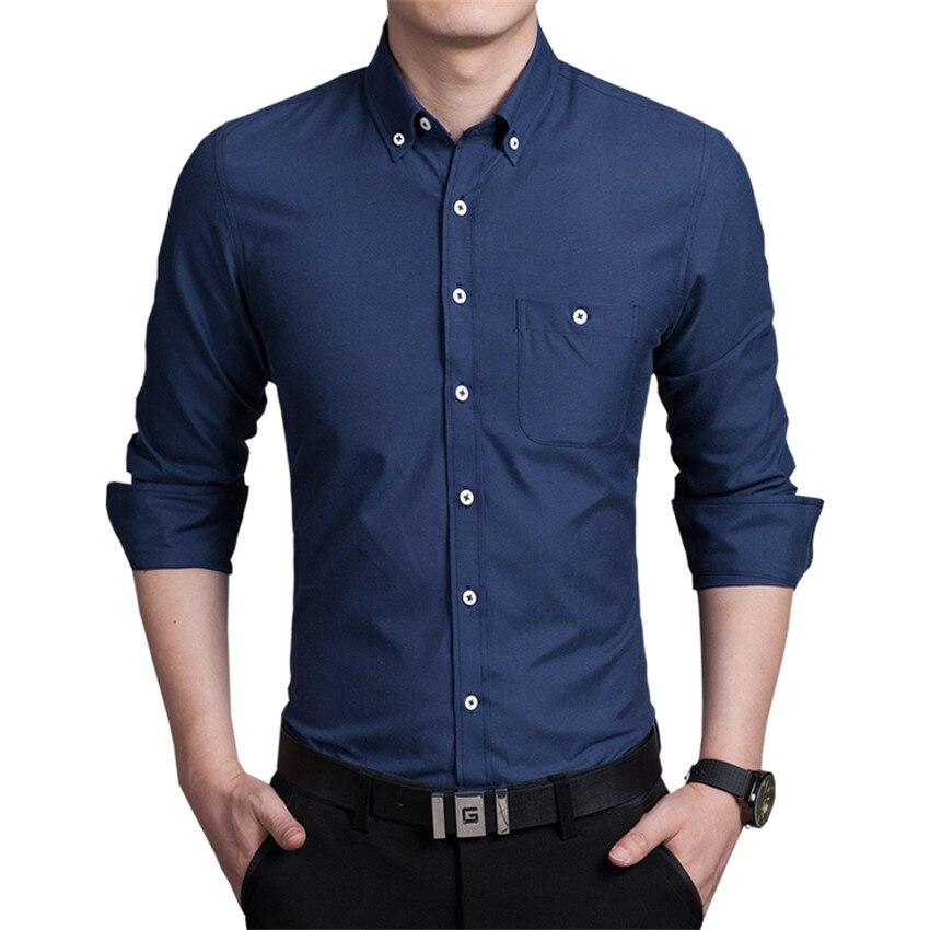 Pure Color Men's Long Sleeve Shirts Large Size S M L XL 4XL 5XL Navy Blue Black Blue Red Fashion Business Man Shirt Slim Elegant