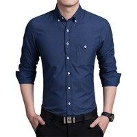 Pure Kleur mannen Lange Mouwen Grote Maat Sml XL 4XL 5XL Marineblauw Blauw Rood Mode Business Man Shirt Slim elegante