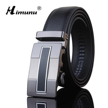 [HIMUNU] Brand Designer Belts Men High Quality Automatic Buckle Cowhide Genuine Leather Luxury belts for men 110-130cm Man belts