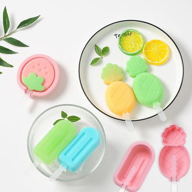 Силиконовые формы для мороженого, милые формы клубника, ананас Формочки Для Мороженного «фруктовый лед» с крышкой формы леденца, самодельный лед, чашка для крема