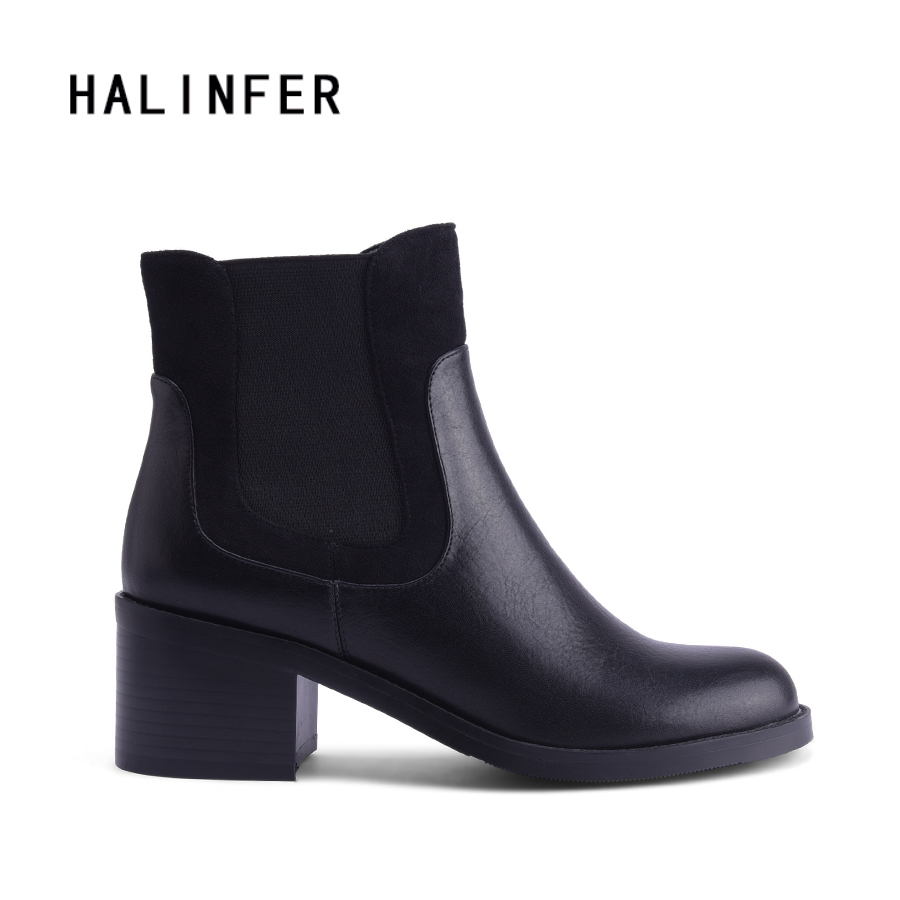 HALINFER genuine leather ankle chelsea boots shoes women patchwork round toe 2018 handmade fashion high heels ladies boots new arrival superstar genuine leather chelsea boots women round toe solid thick heel runway model nude zipper mid calf boots l63