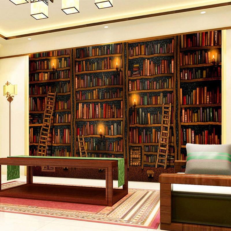 library bookshelf study painting wall classic living backdrop decor mural 3d oil papel parede bookcase bibliothek bookshelves tapete shelves backgrounds