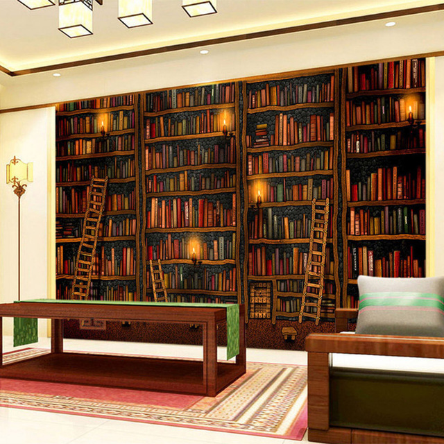 Classic Study Room Design: 3D Wallpaper Classic Bookshelf Oil Painting Photo Mural
