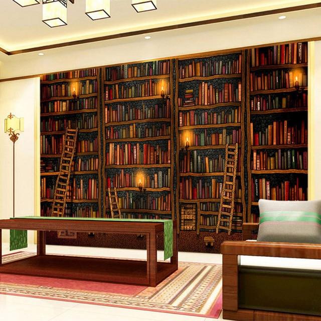library study bookshelf painting wall classic living backdrop decor mural 3d oil papel parede bookcase bookshelves bibliothek tapete zoom backgrounds