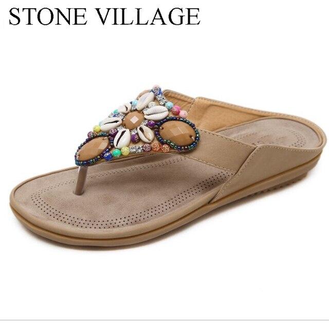 여름 신발 보헤미아 캐주얼 신발 문자열 비드 플립 플롭 플랫 여름 여성 신발 야외 비치 슬리퍼 여성 슬리퍼