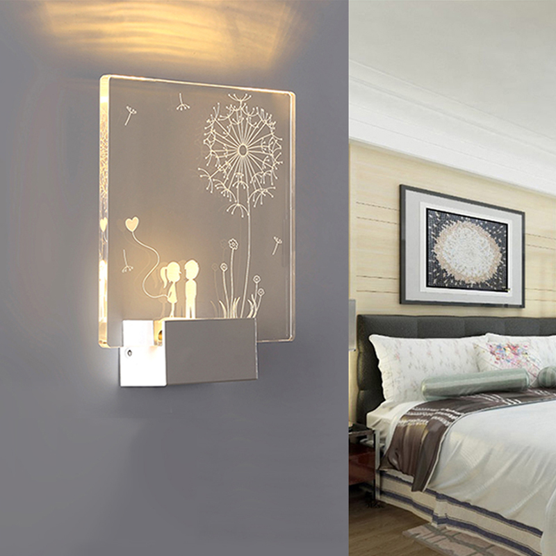 3D Creative Square LED Indoor wall Light Surface Mounted Bedside Lamps Modern Acrylic Sconce Lamp For Living Bed Room Lighting modern bedroom bedside wall lamp e27 led creative mounted metal light sconce for living room hallway hotel home indoor lighting