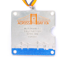 silver medals cheap custom metal enamel color hot sales made medal with ribbons