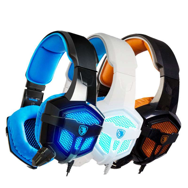 Glow LED Light Gaming Headset Stereo Bass Sound Over-Ear Big Cool Video Games Headphone Earphone for Music PC Computer Gamer over 50 brain games