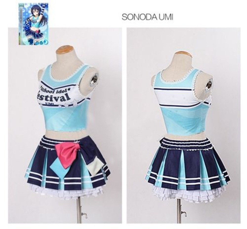 Love Live!Sonoda Umi Cheerleader Cosplay Costume Dress Outfit Cheer Suit Uniform