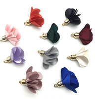 100pcs/bulk Vintage Cloth Flower Tassels Charms for Jewelry Making Tassels for Earrimgs Pompoms Flower Pendants Jewelry Making