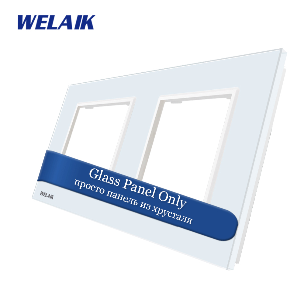 WELAIK EU Touch Switch DIY Parts  Glass Panel Only Wall Light Switch Crystal Glass Panel Square hole  A288W/B1|glass panel switch|light switch touch panelwall light panel - title=
