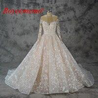 Vestido de Noiva long sleeve Ball Gown Vintage Robe De Mariage special lace design nude tulle sleeve wedding dress factory