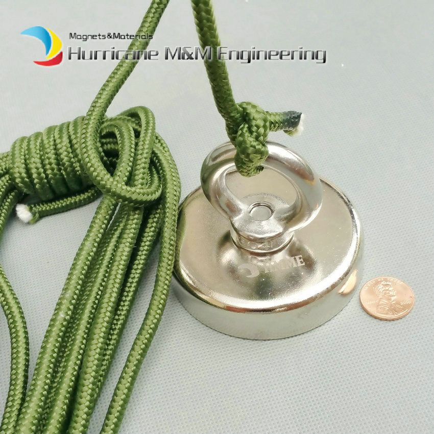 160kg Pulling Mounting Magnet Dia 75mm Magnetic Pots with Ring and Rope Strong Lifting Magnet Neodymium Permanent Fishing Magnet