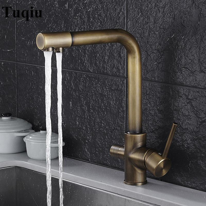Antique Kitchen Faucet Deck Mount Mixer Tap 360 Degree Rotation with Water Purification Fe