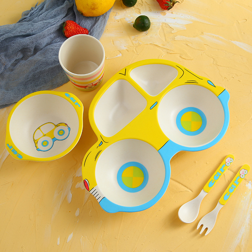 5Pcs/Sets Baby Dish Bamboo Tableware For Kids Baby Feeding Set Dishes Fiber Bowl With Cup Spoon Plate Fork Dish Child Utensils