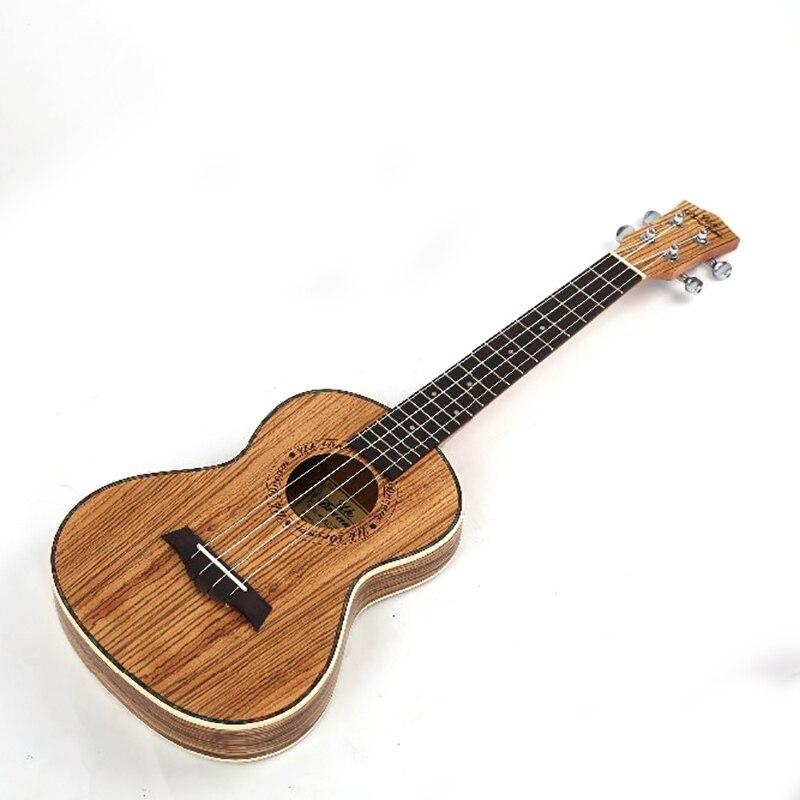 26 pulgadas ukelele Completo Cebra Delgada Barril De Madera Instrumentos Musical
