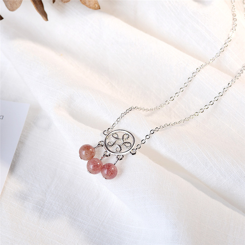 TJP Charm 925 Sterling Silver Pendants Necklace For Women Party Jewelry Latest Strawberry Crystal Necklace For Girl Accessories in Pendant Necklaces from Jewelry Accessories