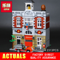 City Street Creator Fire Brigade Lepin 15004 Model Doll House Building Kits Minifigure Blocks Compatible 10197