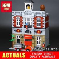 City Street Creator Fire Brigade Lepin 15004 Model Doll House Building Kits Minifigure Blocks Compatible 10197