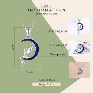 Image 3 - BAMOER colliers en argent Sterling offre spéciale 100% 925, pendentif fée porte bonheur en lune bleue, bijoux en argent Sterling pour femmes, cadeau, SCN244
