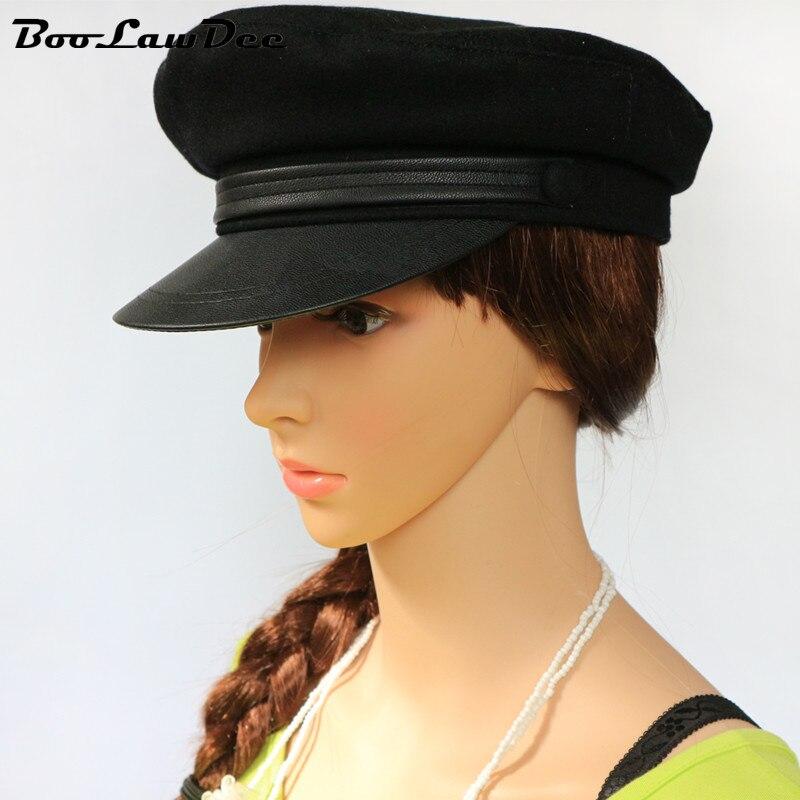 Boolawdee moda negro azul marino sombrero militar marinero gorro de lana  primavera otoño plano superior masculino y femenino estudiante 55 57 59 61  cm M516 ... cff139a312b