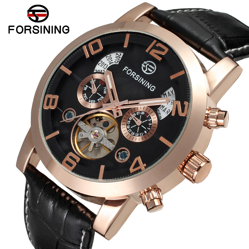 FSG165M3G2 Free shipping! new arrival men Automatic business luxury watch with black genuine leather strap gift box whole sale цена