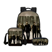 The Walking Dead Prints Boys Backpacks Set Fashion Customize Teenage School Bookbag Pen Pouch Casual Mochia Laptop Shoulder Bags