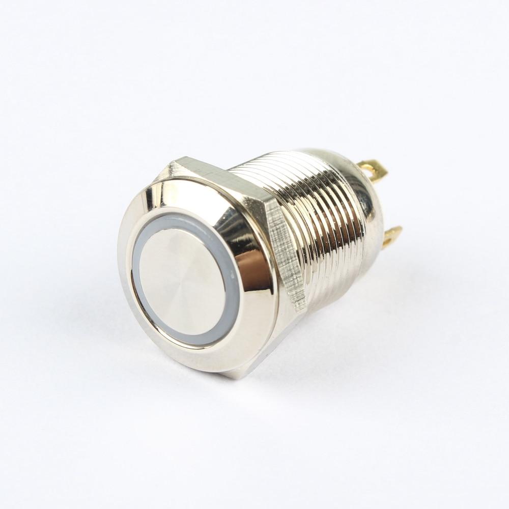 Waterproof High Round Head 12mm Momentary Metal Push Button Switch Lights & Lighting Lighting Accessories