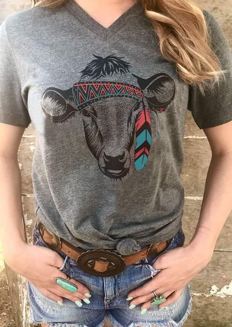 Tribal Cow Head Print T-Shirt
