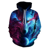 European and American hot-selling brands, Wolf print Hoodies Men 3D Hoodies, Swea quality, a new 6XL striped Men's hooded jacket