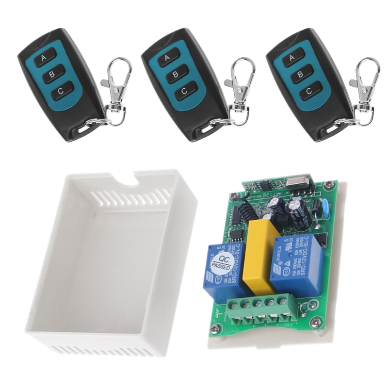 OOTDTY 315/433MHz AC 220V 2 CH RF Relay 3-Button Wireless Remote Control Switch Security System 1 Receiver + 3 Transmitter new ac 220v 30a relay 1 ch rf wireless remote control switch system toggle momentary latched 315 433mhz