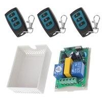 Ootdty 315/433 мГц AC 220 В 2 CH РФ реле 3 кнопки Беспроводной Дистанционное Управление безопасности Системы 1 приемник + 3 передатчик