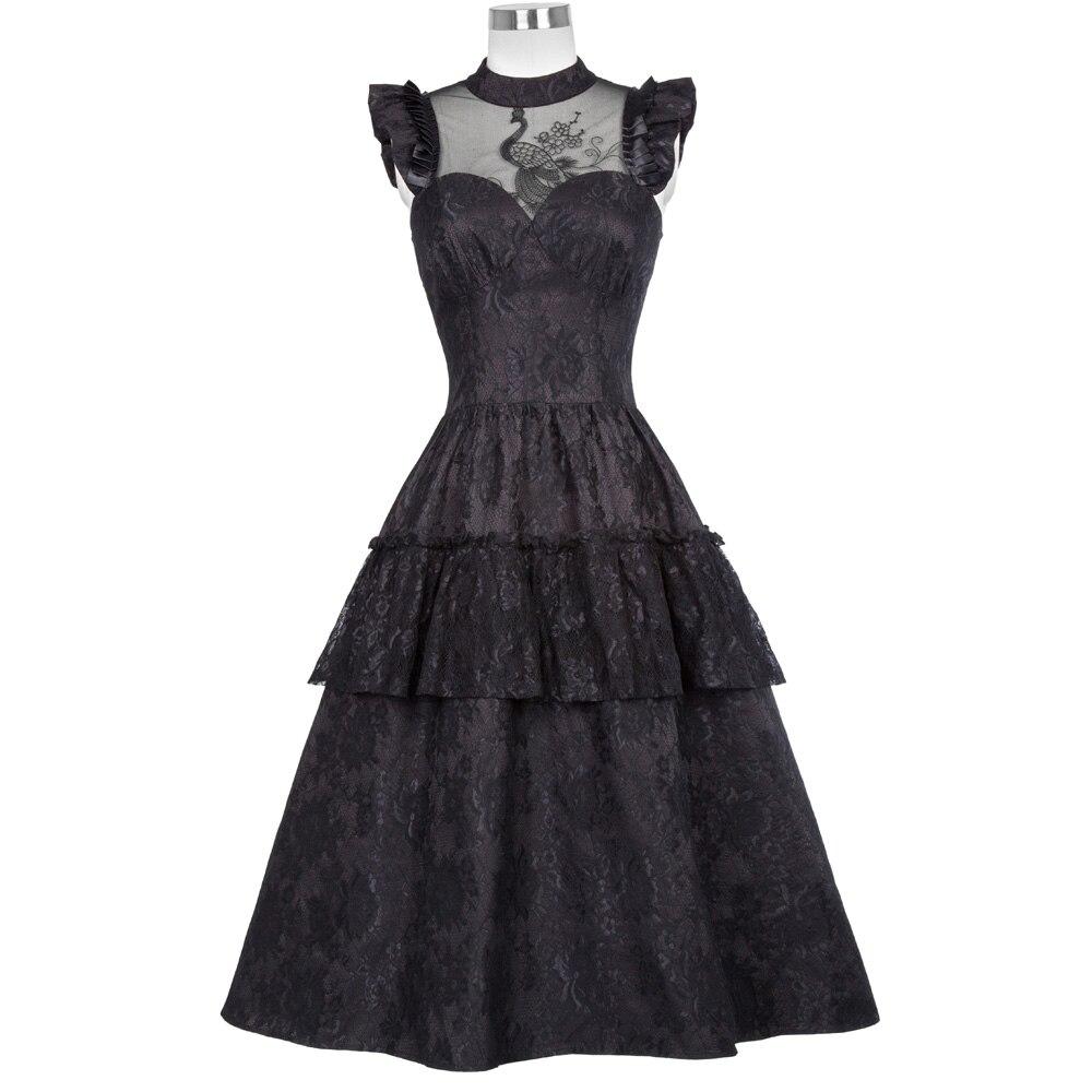 Belle Poque 40s 50s Vintage Victorian Steampunk Gothic Style Women Dress 2018 Summer Ladies Elegant Ruffled High-Neck Swing Robe