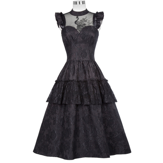 Image result for Belle Poque Women Steampunk Gothic Victorian Peacock Design Lace Swing Dress