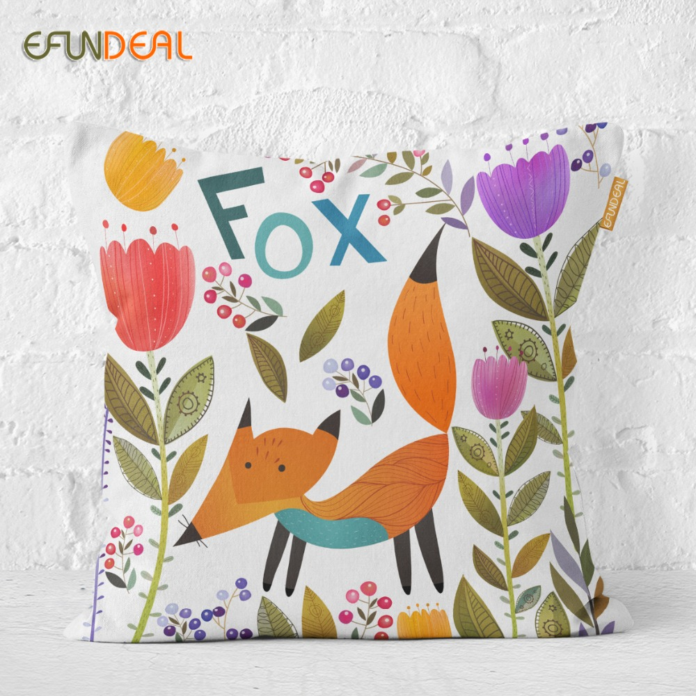 Home Decorative Animals Cushion Cover Throw Pillow Case For Sofa Couch Bed Chair Fox Bear Elephant Lion Sheep 45*45cm/60*60cm