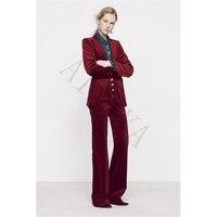 Wine Red Women Casual Office Business Suits Velvet Formal Work Wear 2 Piece Sets Office Uniform Styles Elegant Pant Suits Custom