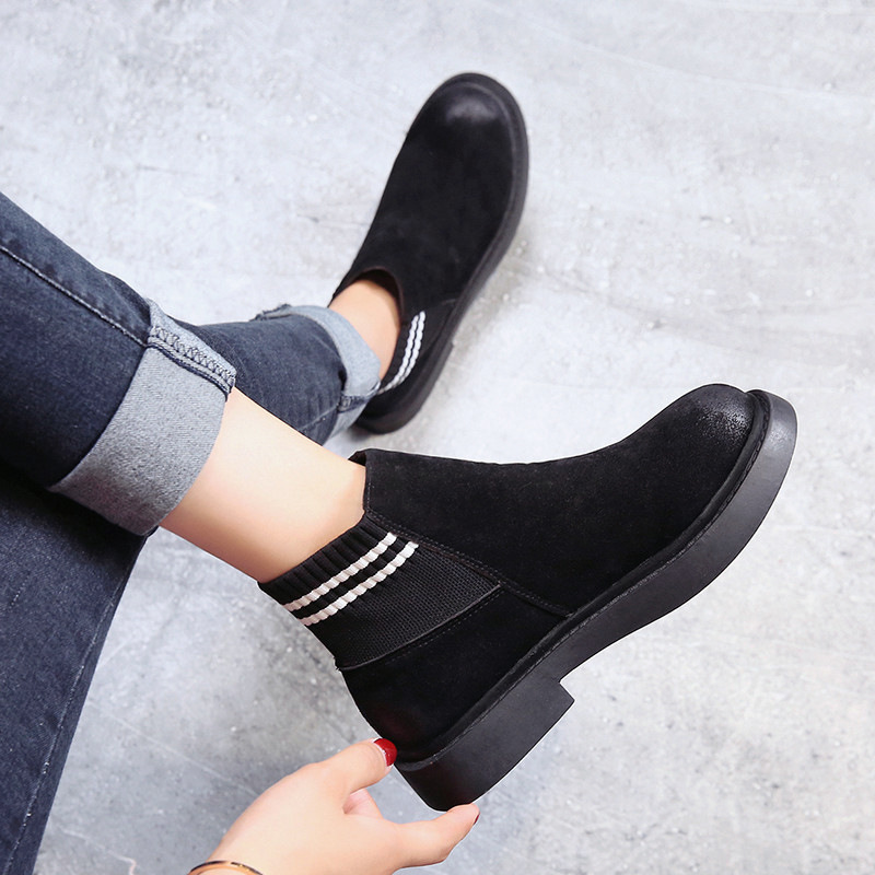 The new autumn 2018 Martin boots flat short tube with restoring ancient ways round head women's boots 38