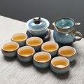 Чайный поднос  чайный сервиз из селадона  ручная роспись  золотой чайный набор кунг-фу  чайник  шесть чашек